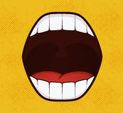 Smile pop art style on yellow background Stock Photo