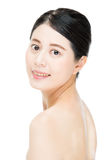 Smile pretty asian woman with beauty makeup face, white backgrou Stock Photos