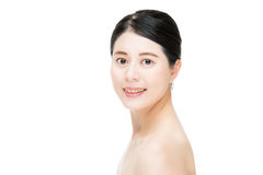 Smile pretty asian woman with beauty makeup face, white backgrou Stock Image