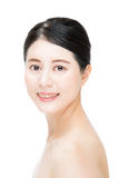 Smile pretty asian woman with beauty makeup face, white backgrou Royalty Free Stock Photos