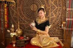 Smile Princess. Lovely girl sweet smile in thai costume dress Stock Photos