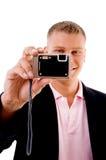 Smile - professional holding digital camera Stock Photos