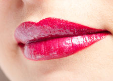 Smile red lips close-up Stock Photography