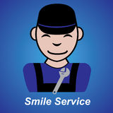 Smile service sign blue background Royalty Free Stock Image