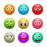 Smile set, balls. Smile set, colored balls with emotions on white background Stock Photo