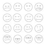 Smile set   emoticons outline Royalty Free Stock Photography