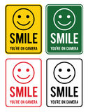 Smile. Set of warning signs about the conduct of surveillance in Royalty Free Stock Image
