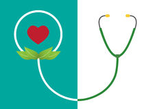 Smile shape from stethoscope and red heart, illustrations. Royalty Free Stock Images