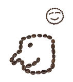 Smile shaped coffee beans Royalty Free Stock Photo