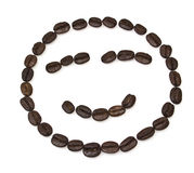 Smile shaped coffee beans. Isolated on white background.The concept is that A good cup of coffee Royalty Free Stock Photography