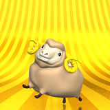 Smile Sheep On Golden Text Space Stock Image