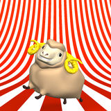 Smile Sheep On Striped Pattern Text Space Stock Image