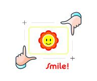 Smile and shot. Framing happy person portrait by photographer hands Royalty Free Stock Images