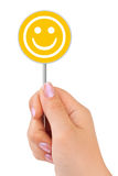Smile sign in hand Royalty Free Stock Image