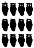Smile. Silhouettes of owls Stock Photo