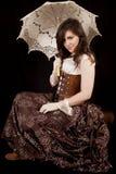 Smile sit umbrella Royalty Free Stock Photography