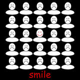 Smile. Smiling man on the background of sad people Vector Illustration
