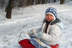Smile on the snow. Play on the snow royalty free stock photography