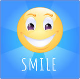 Smile on square blue background with violet eyes. Smile on blue background with text `smile Stock Photo