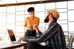 Smile staff on coffee break, colleagues, friends