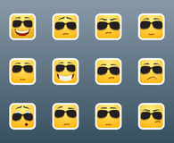 Smile stickers with sunglasses Stock Photo