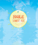 SMILE SUMMER is here, message hanging on the sun. Retro vintage idea for summer Royalty Free Stock Photography