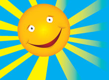 Smile sun. Vector sun with smile and rays Royalty Free Stock Photos