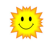 Smile sun. Isolated smiling yellow sun icon Royalty Free Stock Photography