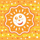 The smile Sun on a stripe yellow background. With white dots and red hearts Royalty Free Stock Photo