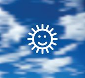 Smile sun symbol blue sky background icon. Color vector illustration. EPS10 Royalty Free Stock Images