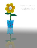 Smile sunflower made from wood Royalty Free Stock Photography