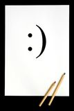 Smile symbol. White sheet of paper with smile symbol Stock Illustration