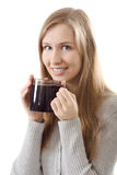 Smile teen girl cup coffee Royalty Free Stock Images