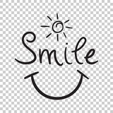 Smile text vector icon. Hand drawn illustration on isolated back Royalty Free Stock Images