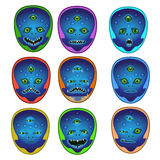 Smile three-eyed alien. Alien alien three-eyed smile, his emotions color his mood and desires of laughter, anger, suspicion, thinking, tears, cry, surprise, wink Stock Images