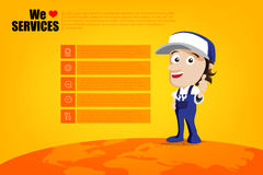 Smile and thumb up mechanic man cartoon for design template, inf Stock Image