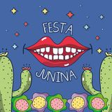 Smile to celebrate the festa junina. Vector illustration Stock Photo