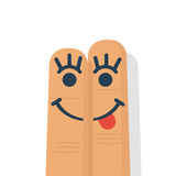 Smile with tongue drawn stock illustration