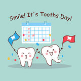 Smile it is tooth day. Cartoon tooth with calendar, great for health dental care concept Royalty Free Stock Photography