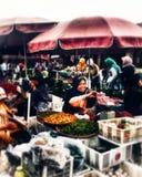 SMILE. Traditional market in Temanggung Indonesia stock photo