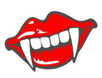Smile of the vampire. Smiling lips of the vampire with sticking out canines Royalty Free Stock Photos