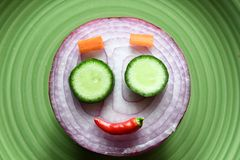 Smile vegetables face. We prepare vegetable cook for dinner on Christmas day Royalty Free Stock Images