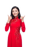 Smile Vietnamese woman in dress traditional Ao Dai and introduce Royalty Free Stock Photos