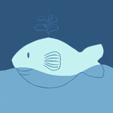 Smile Whale Illustration in blue them colour Stock Images