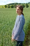 Smile in wheat fields Royalty Free Stock Photo