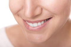 Smile with white healthy teeth. Close Up photo Stock Images