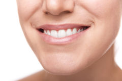 Smile with white healthy teeth. Close Up photo Stock Photos