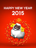 Smile White Sheep, Cercle Firecracker, Greeting On Red Stock Image