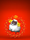Smile White Sheep, Cercle Firecracker On Red Text Space Stock Photos
