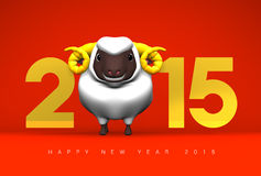Smile White Sheep, 2015, Greeting On Red. 3D render illustration For The Year Of The Sheep,2015 Stock Images